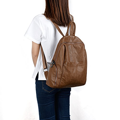 Purse Washed UTO Backpack Pockets Women Brown Shoulder PU Bag Casual Ladies Zipper Rucksack Leather wIqB4EqcC