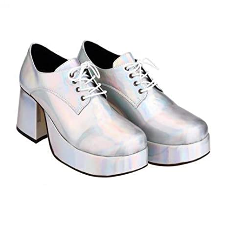 ab86db689eb Fancy Dress Mens 70s 80s Party Platform White Silver Gold Shoes SoWest