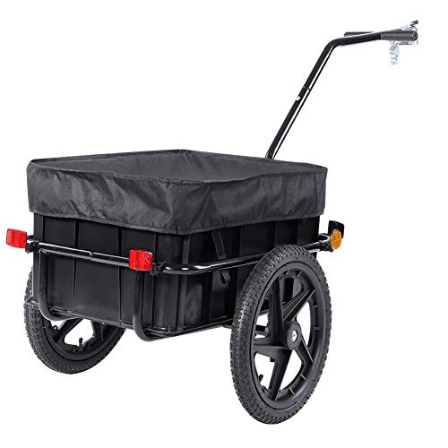 Cocoarm Bicycle Cargo Trailer,Bike Cargo Luggage Trailer Shopping Trolley Cart Carrier with Cover,Black(70L)