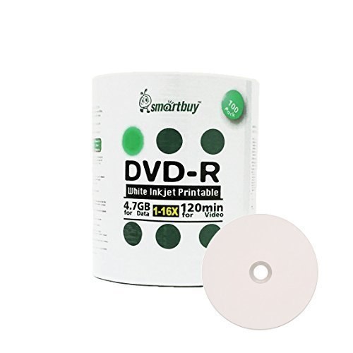 Smart Buy 100 Pack DVD-R 4.7gb 16x White Printable Inkjet Blank Media Record Disc, 100 Disc 100pk