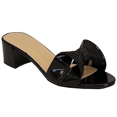 Wedding Shoes New Block Toe Ladies 189 On Open Sandals Heel Diamante Slip Bridesmaid Black zzHSxPv4w