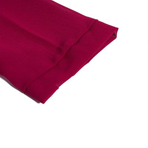 Beauty7 Camisas Gasa de Mujeres V Cuello Con Botones Manga Larga Camisetas Respirable Blusas Casual T-Shirt Tops Tees Verano Parte Superior Baggy Playera Negro Azul Rojo Cafe Rojo Vino