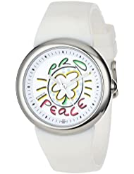 PeaceLove Unisex F36S-PLW-W  Round Stainless Steel White Silicone Strap and Miripolsky Art Dial Watch