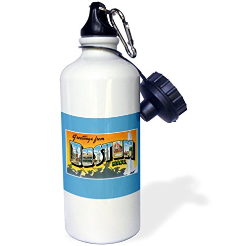 3dRose Greetings from Boston Mass. Scenic Postcard Reproduction-Sports Water Bottle, 21oz (wb_170229_1), Multicolored ()