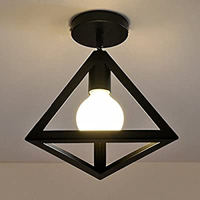 WINSOON Industrial Ceiling Light 1 Light Style Triangle Metal Art Painted Finish Fixtrue