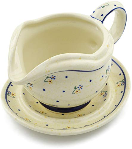 Polish Pottery 21 oz Gravy Boat with Saucer (Country Meadow Theme) + Certificate of Authenticity
