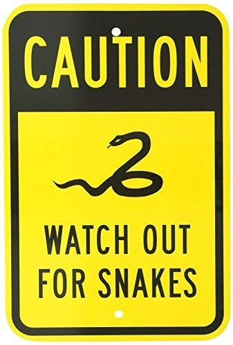 """BGOJM Warning Caution Metal Sign Aluminum Sign, Legend Watch Out for Snakes with Graphic, 8"""" X 12"""" inch, Black on Yellow"""