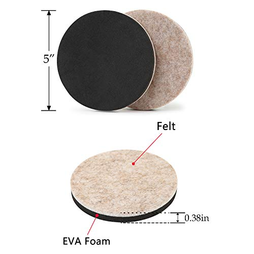 Felt Furniture Sliders Hardwood Floors 8 PCS 5