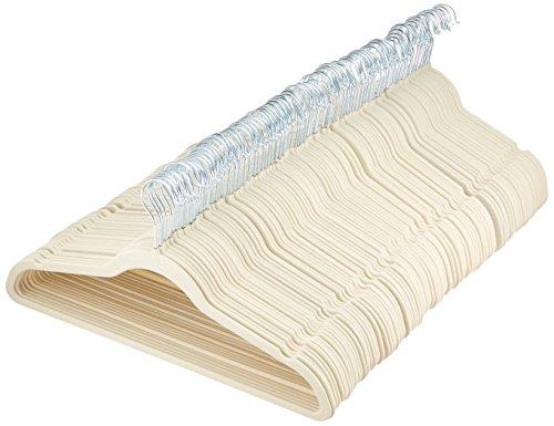 AmazonBasics Velvet Suit Clothes Hangers, 100-Pack, Ivory/Beige