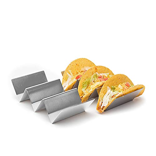 Large Stainless Steel Metal Taco Holder Stand | 2 PACK | Quality Gifts for Women Men Kids| Kitchen Gadgets Safe for Oven Rack, Grill, Dishwasher Restaurant Baking