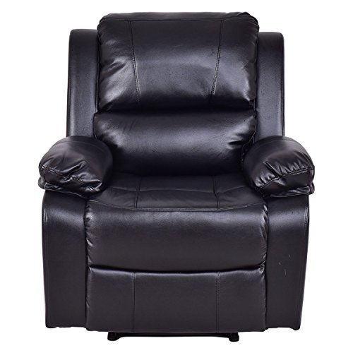 Manual Recliner Sofa Lounge Chair PU Leather Home Theater Padded Reclining - Air Ups Prices Next Day
