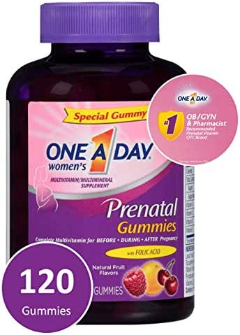 One A Day Women's Prenatal Multivitamin Gummies, Supplement for Before and During Pregnancy, Including Vitamins A, C, D, E, B6, B12, and Folic Acid, 120 Count