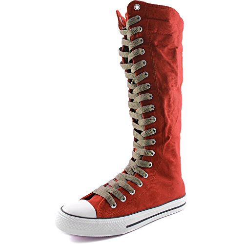 DailyShoes Womens Canvas Mid Calf Tall Boots Casual Sneaker Punk Flat, Red Boots, Light Brown Lace