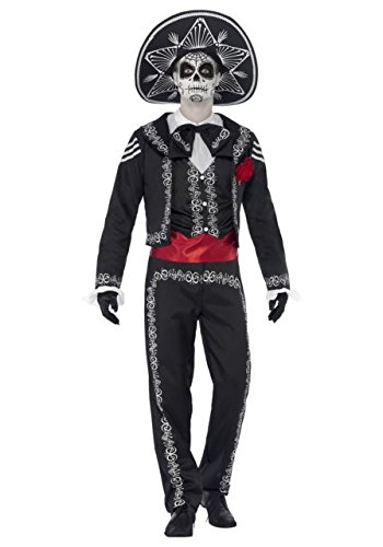 Smiffy's Men's Day of the Dead Señor Bones Costume, Jacket, pants, Mock Shirt and Hat, Day of the Dead, Halloween, Size L, 43738 (Halloween Costumes Dia De Los Muertos)
