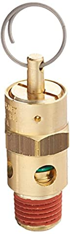 Control Devices ST25-1A050 ST Series Brass Soft Seat ASME Safety Valve, 50 psi Set Pressure, 1/4 Male (Compressor Pressure Relief Valve)