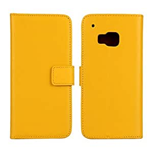 Calans HTC ONE M9 RL Leather Wallet Flip Stand Case Cover With Screen Protector -Yellow