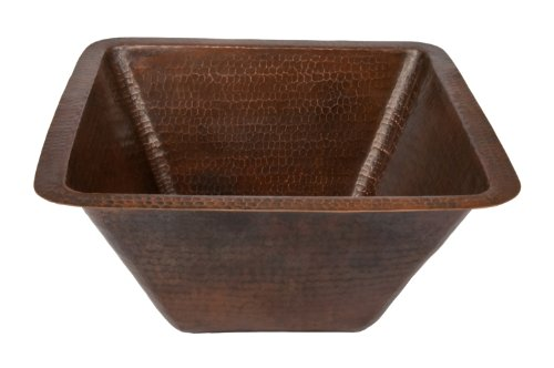 Premier Copper Products BS17DB 17-Inch Universal Large Square Hammered Copper Sink, Oil Rubbed Bronze (Sink Square Bar Large)