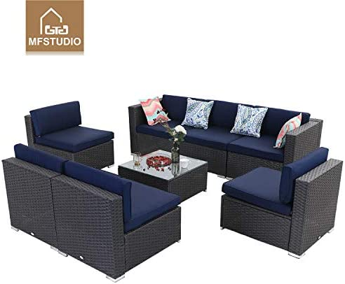 8 Piece Outdoor Sectional Furniture Rattan Conversation Sofa Patio Rattan Sofa Set with Wicker,Blue