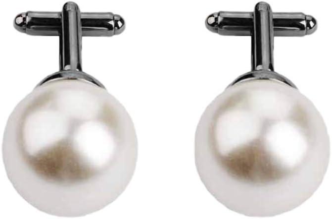 Lumanuby. 1par Perla cultivada Gemelos Camisa Vestir de Hombre Mujer de Metal Acero Inoxidable para Regalo de Boda de Negocios Size 2 * 3.9cm (Negro): Amazon.es: Hogar