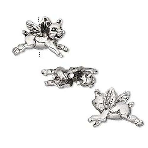 2 Antiqued Silver Plated Pewter 3D Flying Pig Beads for Jewe
