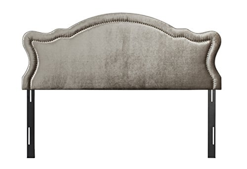 Jennifer Taylor Home Legacy Collection King Size Adjustable Velvet Upholstered Camel Back Headboard with Hand-Applied Nail Head Trim, King, Grey