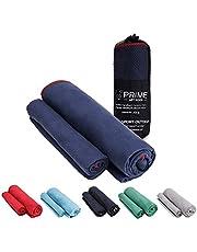 PRIME ART WOOD® 2er-Set Microfaser Handtücher (70x140 cm und 40x80 cm) | Badehandtücher, Sporthandtücher, Reisehandtücher | Mikrofaser Handtuch Set für Sport, Outdoor, Fitness, Reisen
