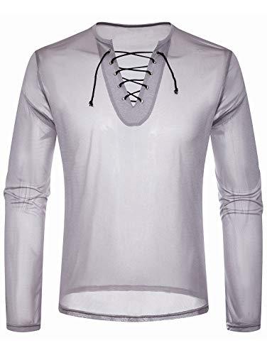 EbuyChX Lace Up Design Long Sleeve Mesh T-Shirt Platinum ()