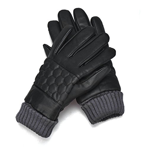 1-Pcs (1 Pair) Pre-eminent Popular Mens Thermal Warm Leather Gloves Snowboard Mittens Motorcycle Hand Cover Touch Screen Color Blacks Model-04