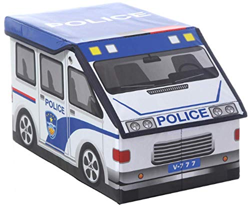 Blue Police Car Storage | Kids Collapsible Folding Toy Storage Organizer Box Bin and Ottoman -