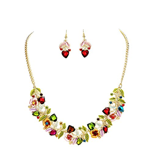 Rosemarie Collections Women's Flower and Vine Glass Crystal Necklace and Earrings Set (Jewel (Spring Floral Necklace)