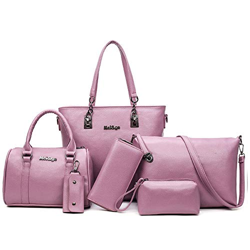 - 6-Piece Women Fashion Handbags And Purese Set Female Shoulder Bags Tote Bags (purple)