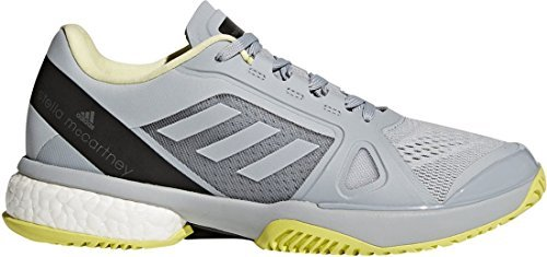 adidas Women's Stella McCartney Barricade Boost 2018 Tennis Shoe (8.5, Eggshell Grey/Aero Lime/Core Black)