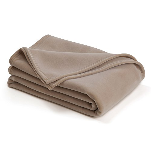 The Original Vellux Blanket - Twin, Soft, Warm, Insulated, Pet-Friendly, Home Bed & Sofa - Tan - Martex Vellux Twin Blanket