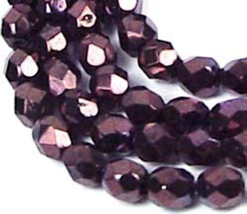 50 Czech Firepolish Faceted Round Metallic Amethyst - Round Amethyst Firepolish Beads
