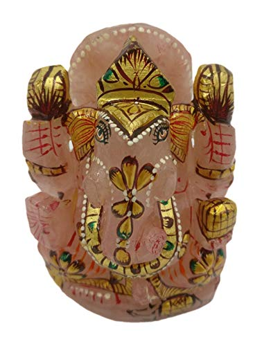 Rose Quartz Ganesh Statue 3 Inches with Gold foil artwork - Gemstones and Crystal Carvings 3 Stone Gold Foil