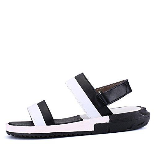 estate Uomini scarpa Uomini Tempo libero sandali vera pelle Confortevole Spiaggia scarpa moda infradito sandali ,bianca and nero,US=6.5,UK=6,EU=39 1/3,CN=39