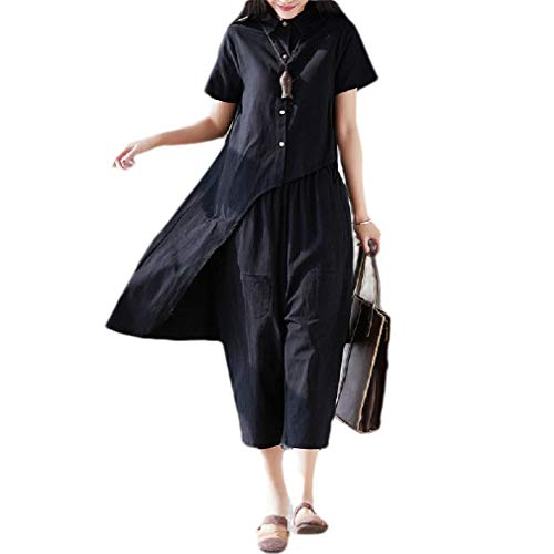 Comaba Women's Linen Chinese Style Weekend Plus Size Crop Top+Long Pant Black M