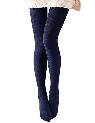 - VERO MONTE 1 Pair Women's Modal & Cotton Opaque Knitted Patterned Tights (Navy)