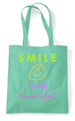 Smile You Bag Shopper Beautiful Tote Mint Are 6S6rqP
