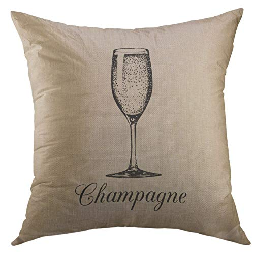 (Mugod Pillow Cases Vintage Champagne Glass Sketch of Spumante Alcoholic Drink White Sparkling Wine Sign for Restaurant Bar Throw Pillow Cover for Men Women Boys Cushion Cover 20x20 inch)