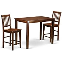 East West Furniture YAVN3-MAH-W 3 Piece High Table and 2 Counter Height Chairs Set