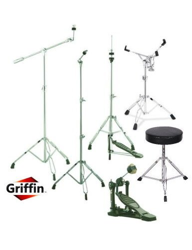 Drum Hardware Pack 6 peice Stand Package Snare Hi-Hat Cymbal Boom Throne Kick Drum Pedal by Griffin Percussion