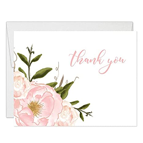 Amazon Com Beautiful Pink Blooms Thank You Cards With Envelopes