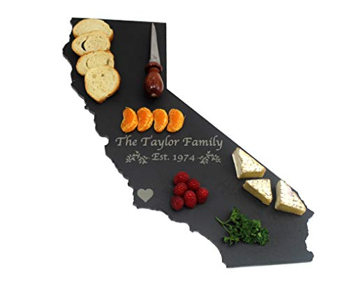 Custom California Slate Cutting Board, Serving Tray, or Cheese Board- Personalized with Laser -