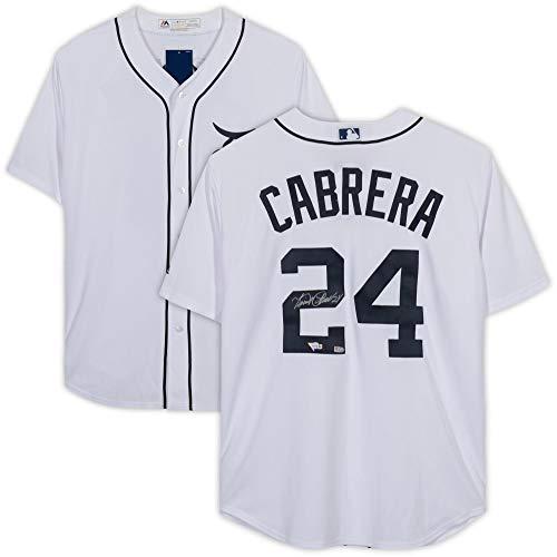 (Miguel Cabrera Detroit Tigers Autographed White Majestic Replica Jersey - Fanatics Authentic Certified)