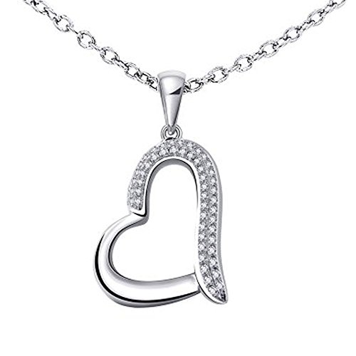 925 Sterling Silver Heart Diamond Pendant Necklace (0.11 Carat) 0.11 Ct Diamond Pendant