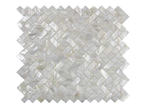 - Genuine Mother of Pearl Oyster Herringbone Shell Mosaic Tile for Kitchen Backsplashes, Bathroom Walls, Spas, Pools by Vogue Tile (Pack of 5 Sheets)