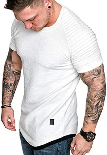 Hmlai Clearance Men's Fashion Short Sleeve Summer Casual Pleated Slim Fit Raglan Hoodie Hipster Solid Cotton Tops Blouses