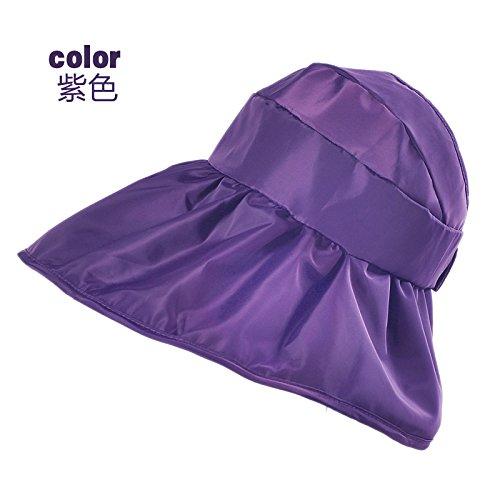 Aire Sra match cuerda Sombrero Todo Quitasol Viajes La Visor Suministro Verano magia Casco morado Uv Gaoqiangfeng Yeso Sun Púrpura Plegable De Cara 5wXx8URxq