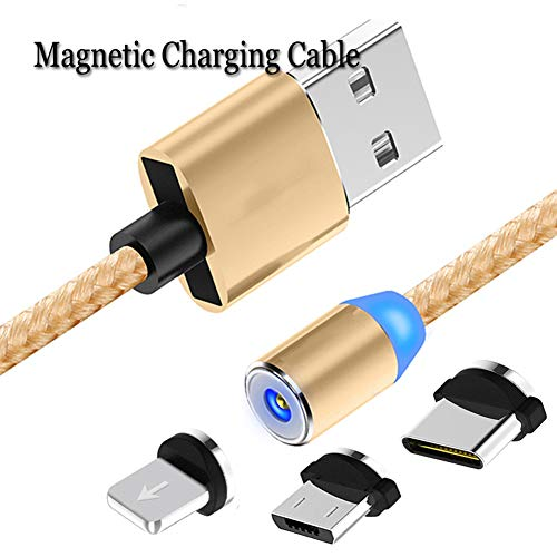 Type Straight Shackles (Nylon Braided Magnetic Phone Charging Cable,3 in 1 Cable(1 Pack,3 Adapter,3.3/6.6 ft Straight Cable) Multiple USB Fast Charger Cord (Gold))